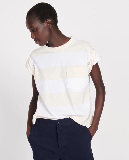 Mercerised cotton oversize striped t-shirt STR OPTICALWHITE BUTTER