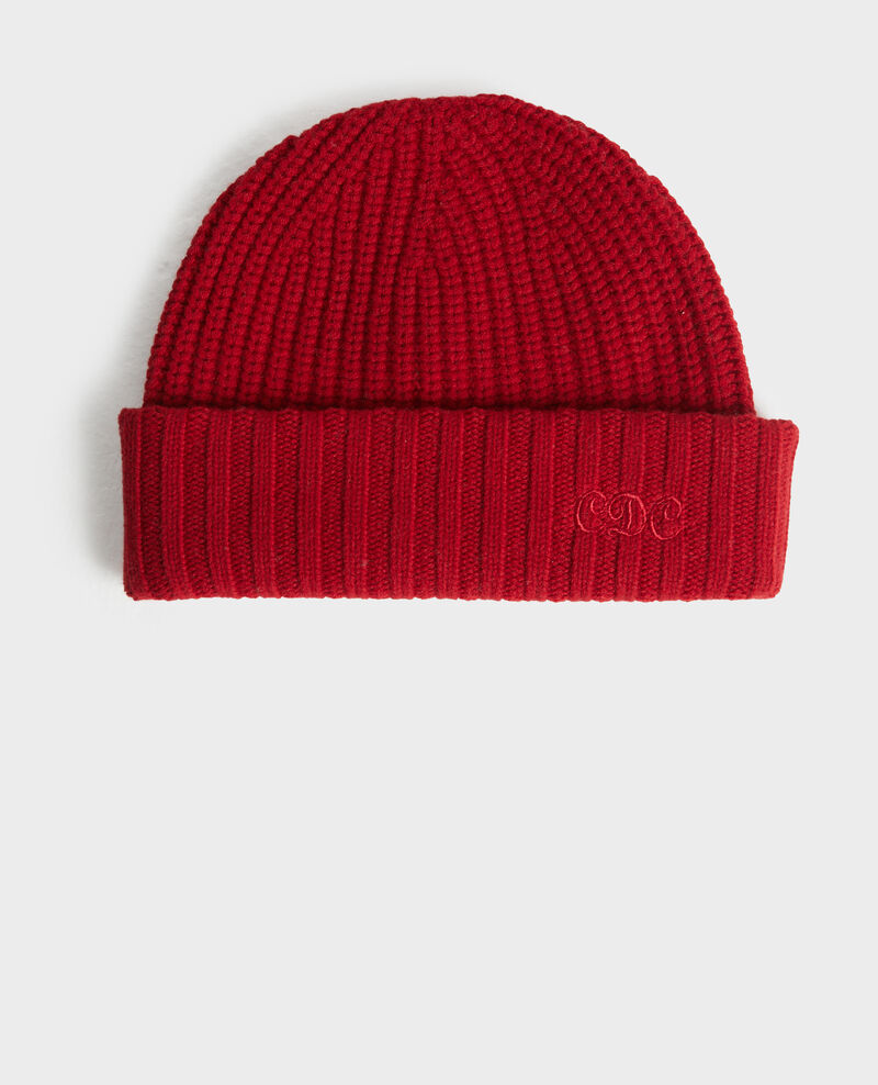 "Embroidered ""CDC"" wool beanie Royale red Moeze"
