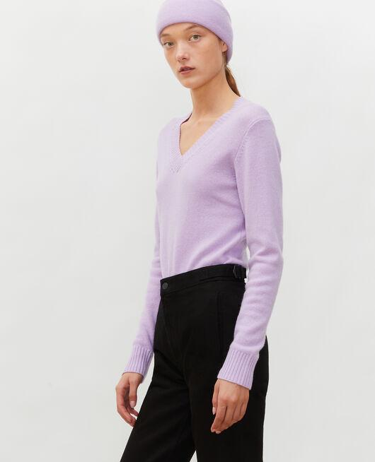 V-neck cashmere jumper PASTEL LILAC