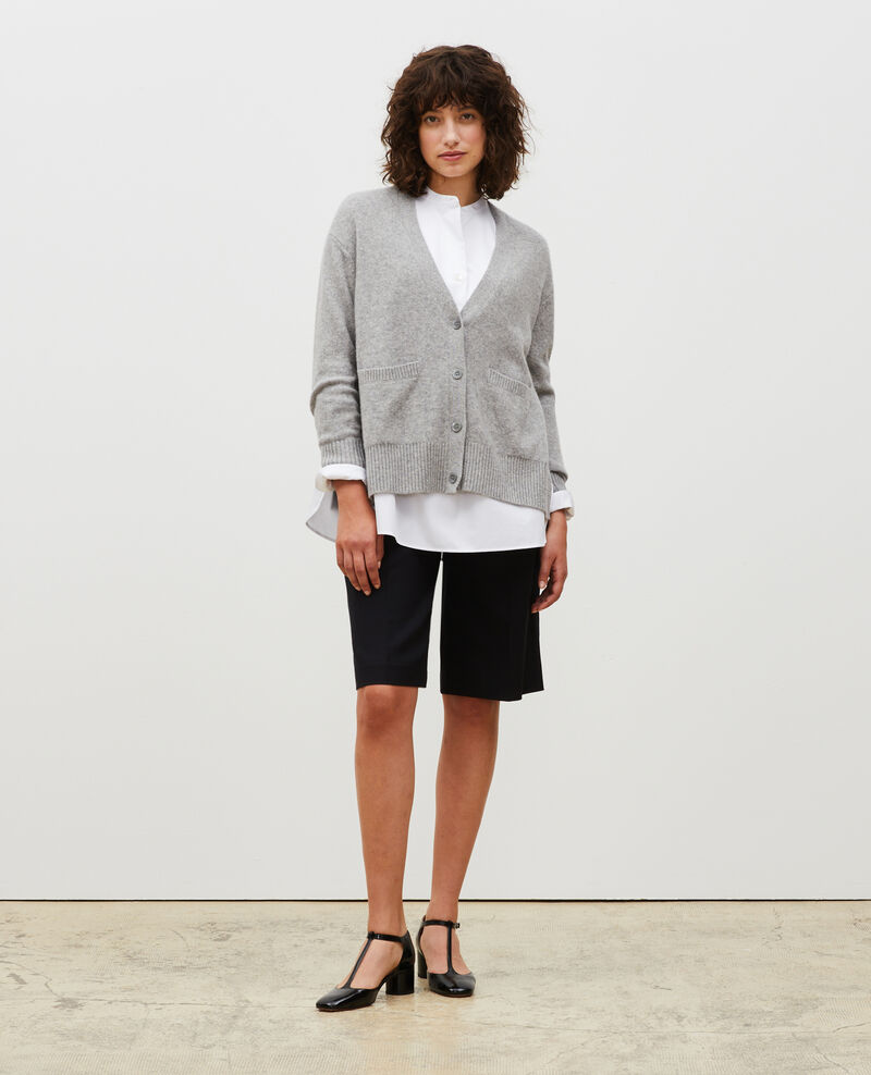 V-neck cashmere cardigan with side splits Light grey melange Moleano