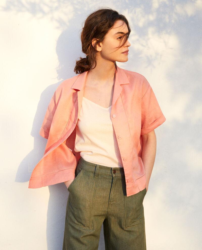 Open collar linen shirt Salmon pink Ilage