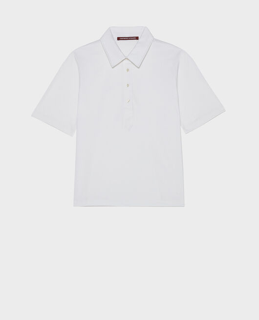 Cotton polo shirt OPTICAL WHITE