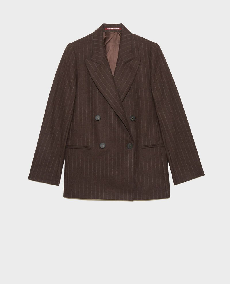 Double-breasted wool blazer Stripe coffee bean Muciano