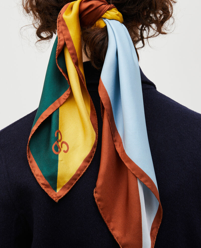 Square scarf in multi-coloured silk Lemon curry Massana