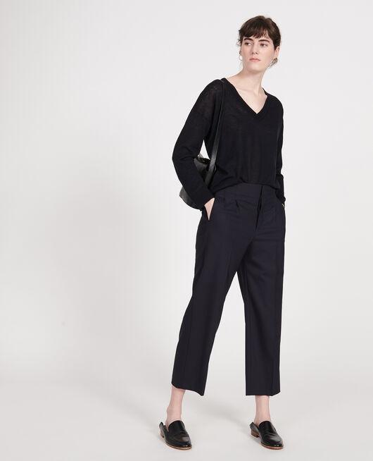 Linen and cotton V-neck jumper BLACK BEAUTY
