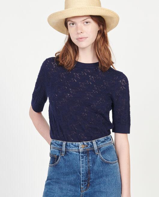 Rib knit t-shirt MARITIME BLUE