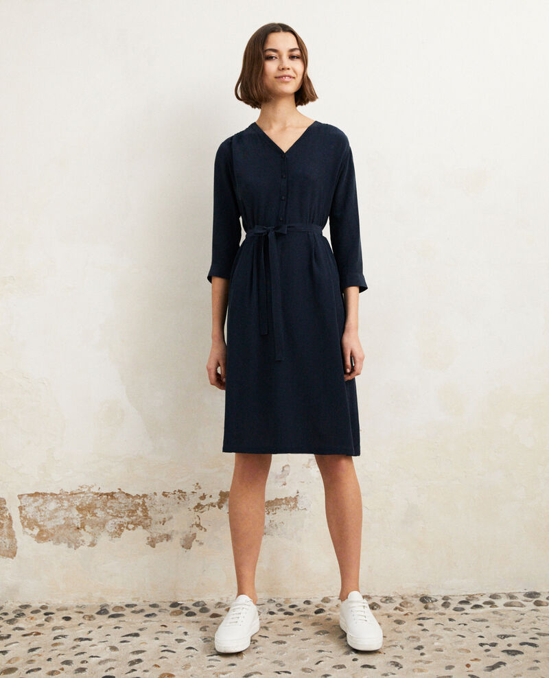 Midi silk-blend dress Bleu marine Idalie