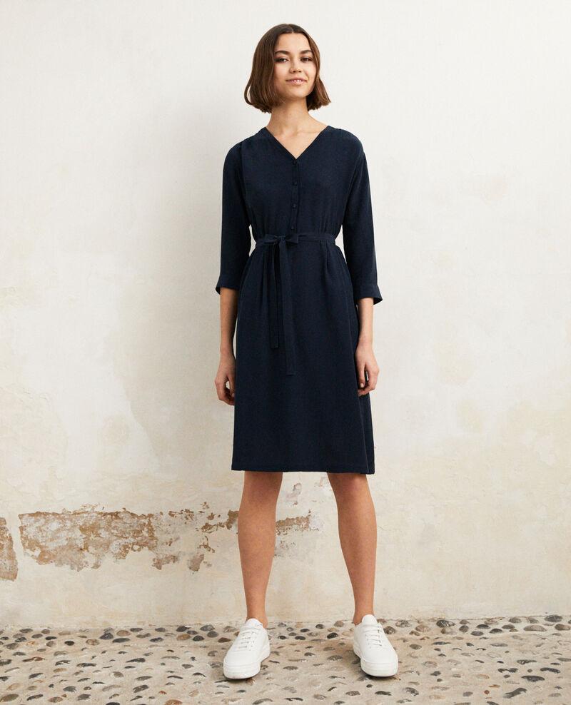 Midi silk-blend dress Ink navy Idalie