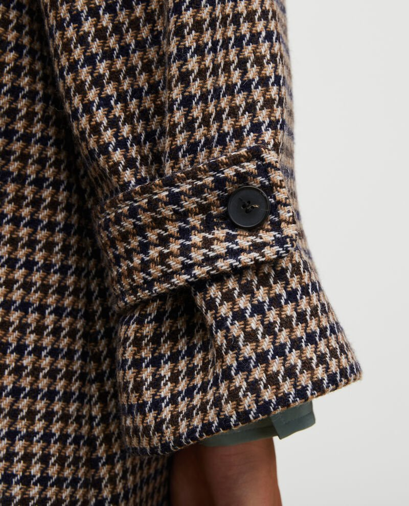 Wool tweed oversize coat Houndtooth-latte Magnan