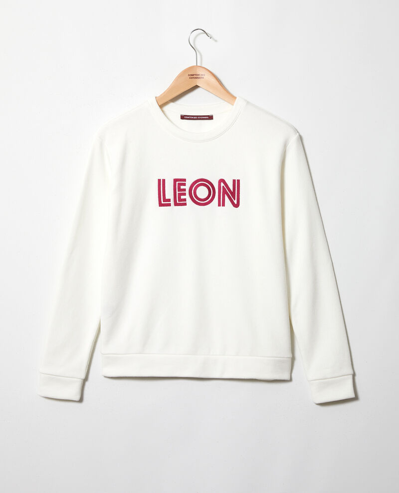 Embroidered Léon sweatshirt Ow/fushia Igleon