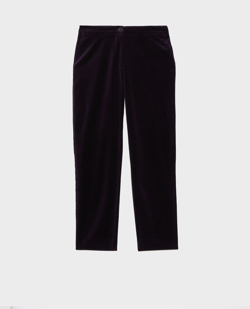 MARGUERITE trousers, 7/8 in velvet Purple Poko