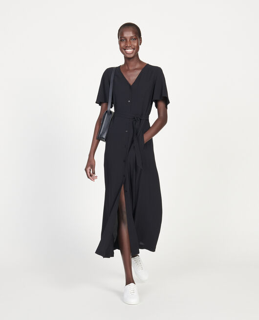 Viscose crêpe maxi dress BLACK BEAUTY