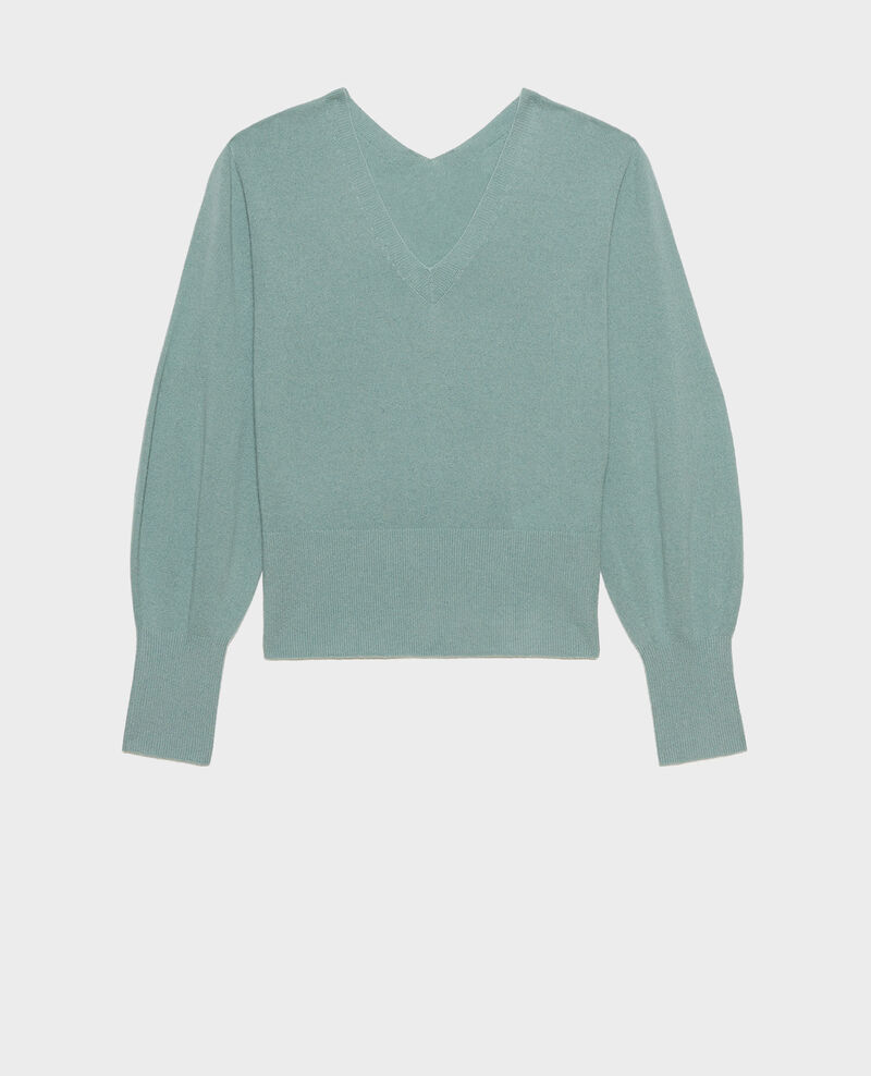 Fine 3D cashmere jumper with V-front and back Chinois green Manona