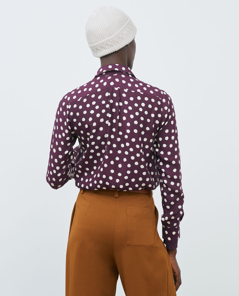SIBYLLE - Printed silk shirt Maxidot purple Nabilo