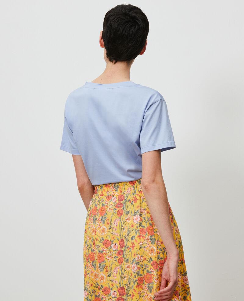 Embroidered cotton t-shirt Blue heron Nagaoka