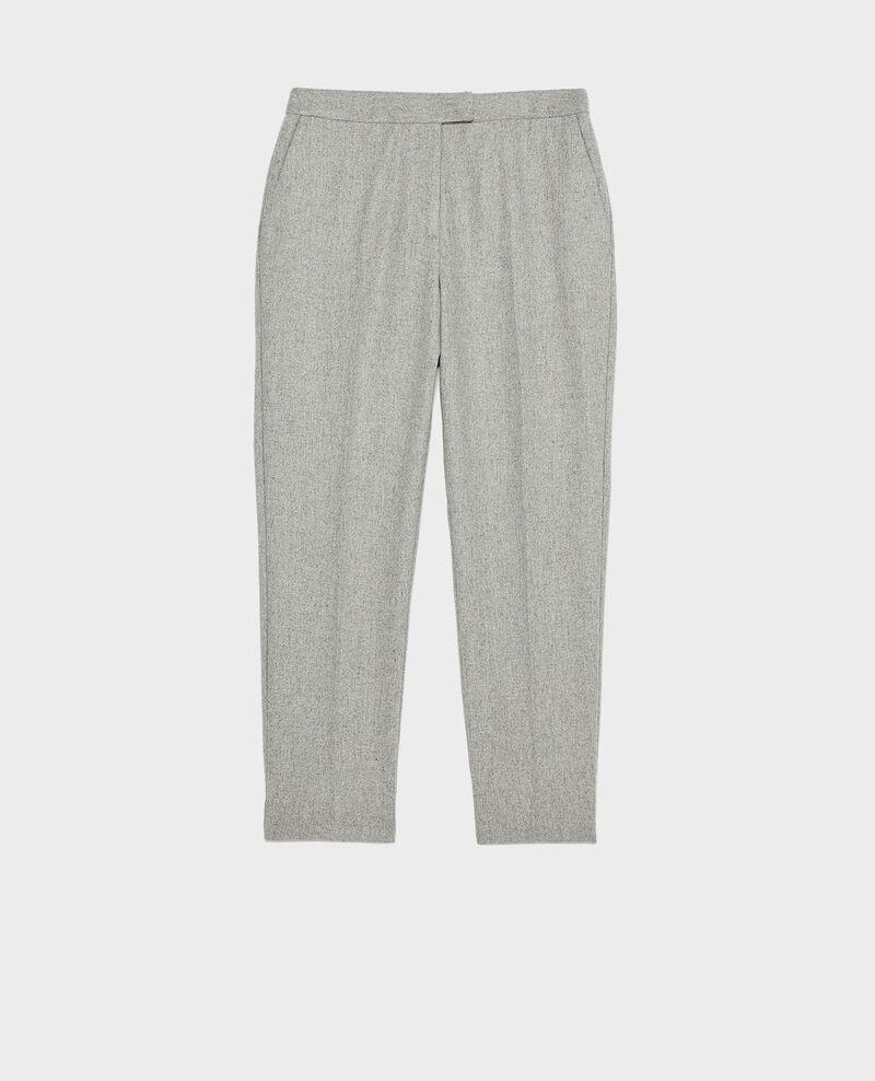 Tapered wool 7/8 trousers  MARGUERITE  Light grey melange Mokyo