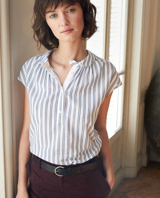 Shirt with round collar Blue