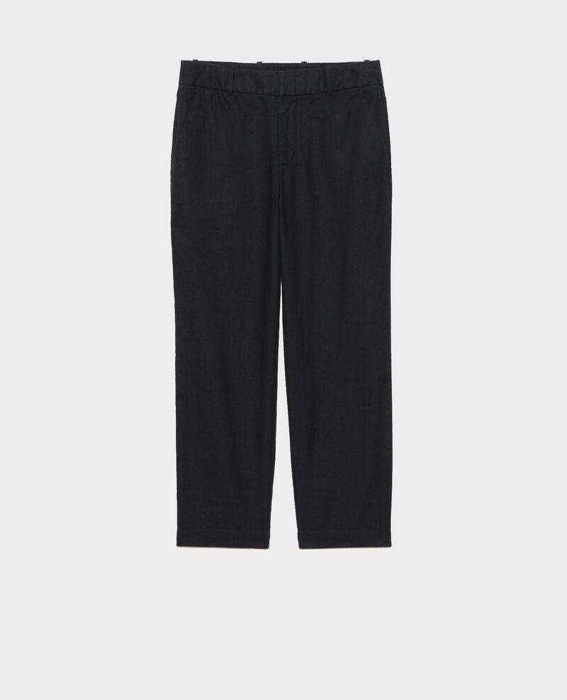 Linen and cotton 7/8 trousers Black beauty Laiguillon