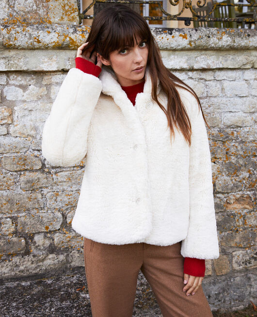 Short synthetic fur coat OFF WHITE