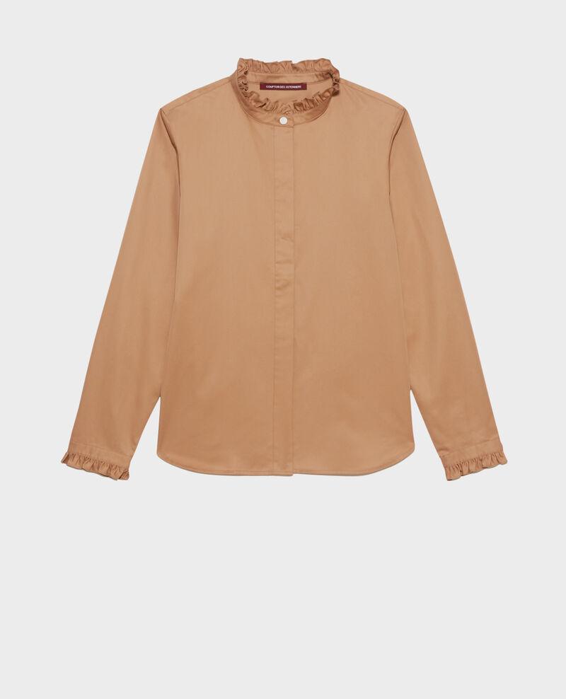 Ruffled high collar cotton shirt Latte Marcenat