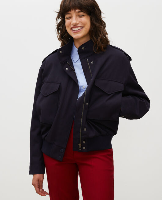 Wool gabardine aviator jacket NIGHT SKY
