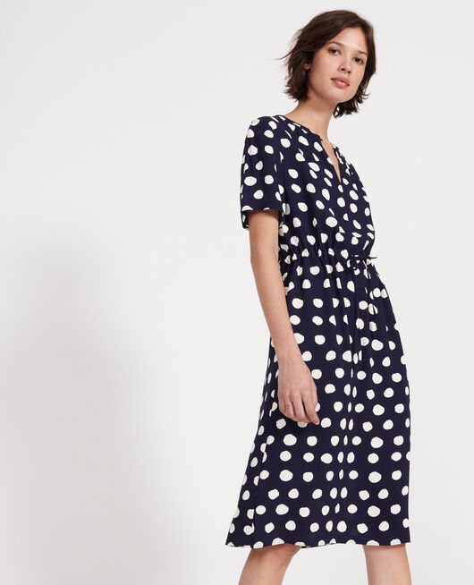 Straight and loose dress DOTS MARITIME BLUE