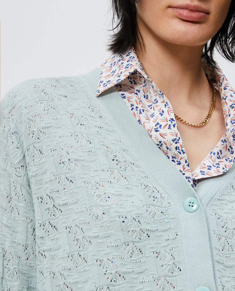 Cotton and linen cardigan Blue haze Lafiora
