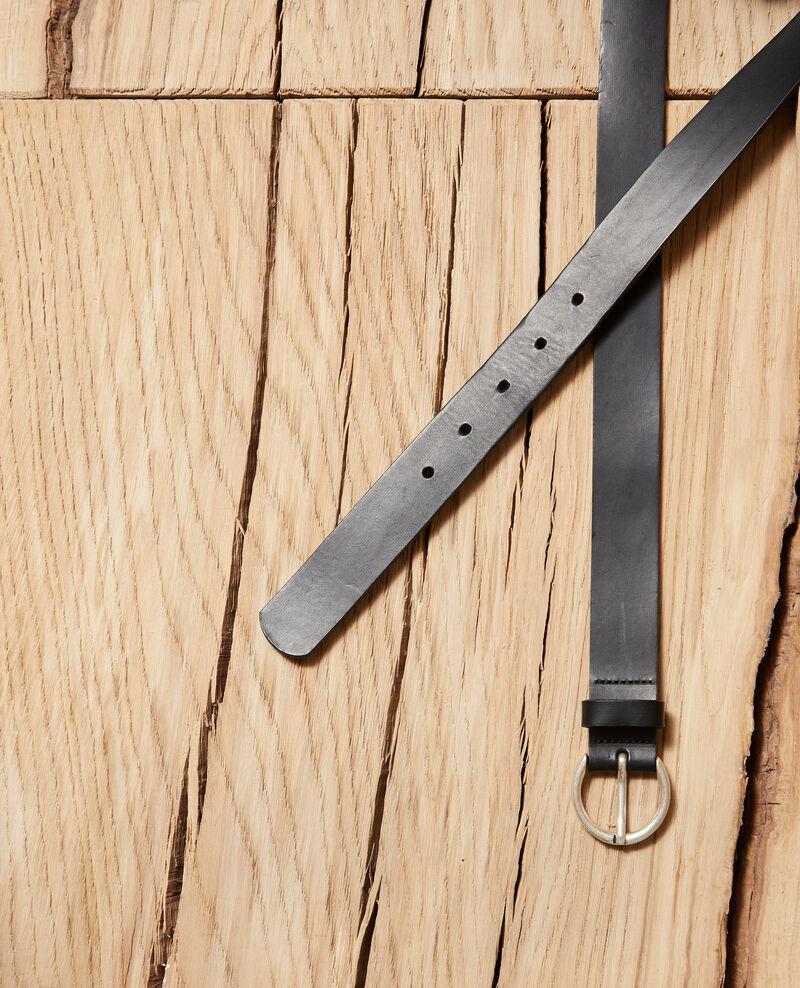 Smooth leather belt, medium model Black Girouette