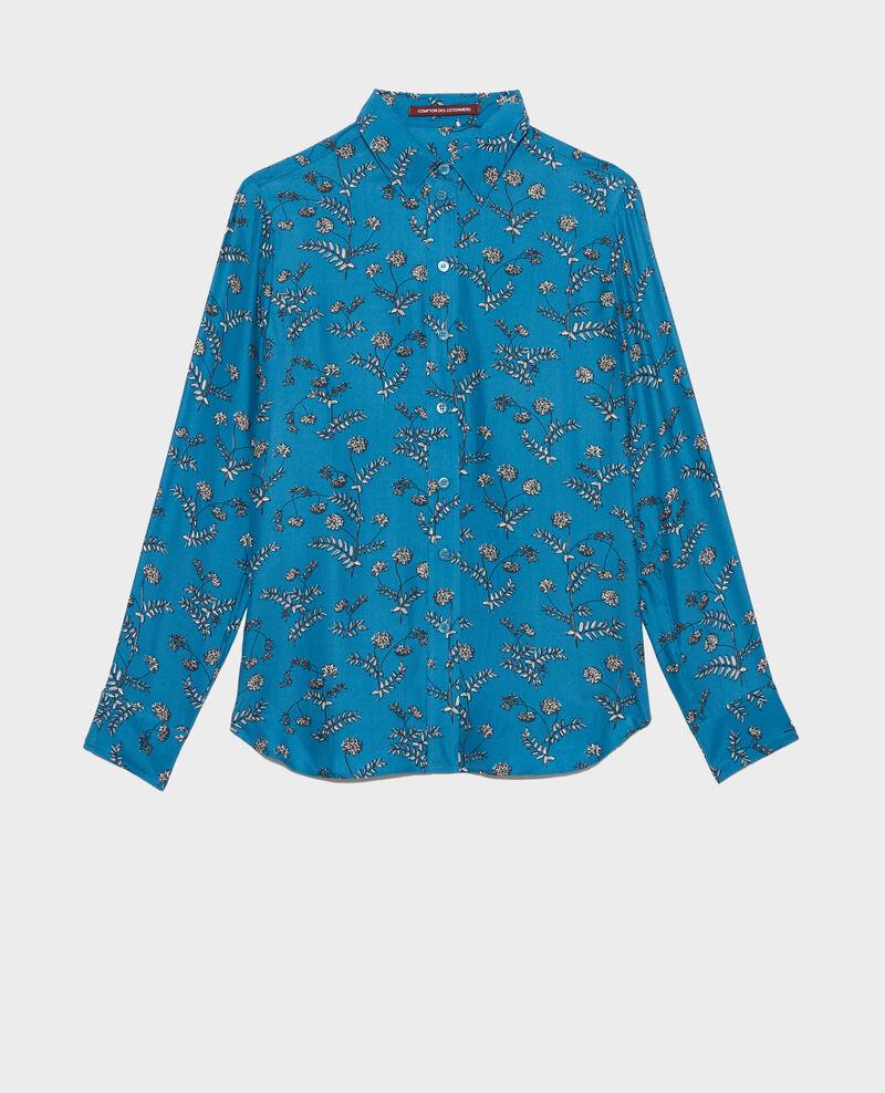 SIBYLLE - Printed silk shirt Coronille faience Nabilo