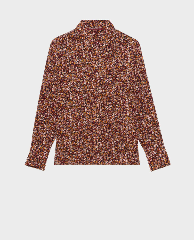 SIBYLLE - Long-sleeve silk shirt Liberty cabernet Misabethou
