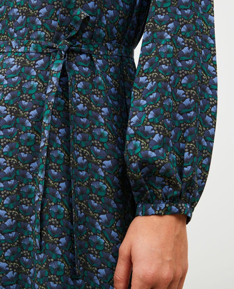 V-neck silk maxi dress with belt Print artdeco darkgreen Marieuxa