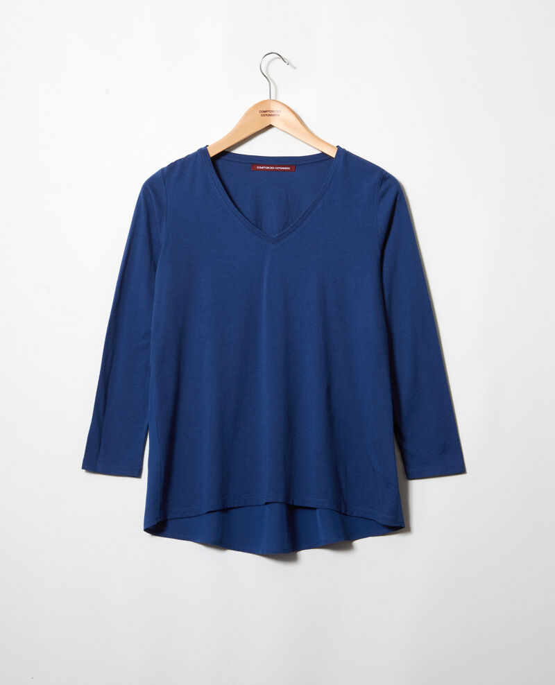Bimaterial T-shirt Dark indigo Ioko