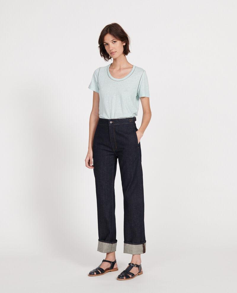 Linen jersey T-shirt Blue haze Lye
