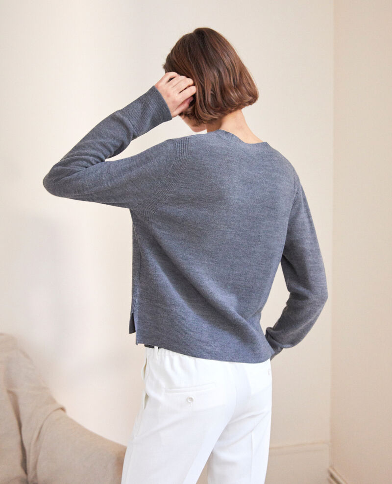 Wool cardigan Dark heather grey 9idada