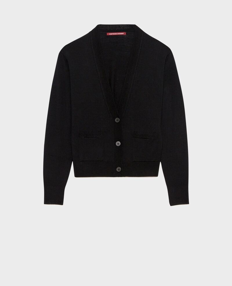 Cropped wool cardigan Black beauty Palabre