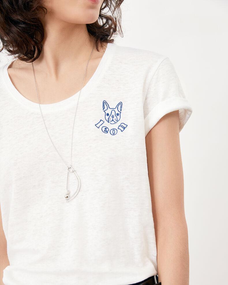 Embroidered linen T-shirt Blanc/indigo Folong