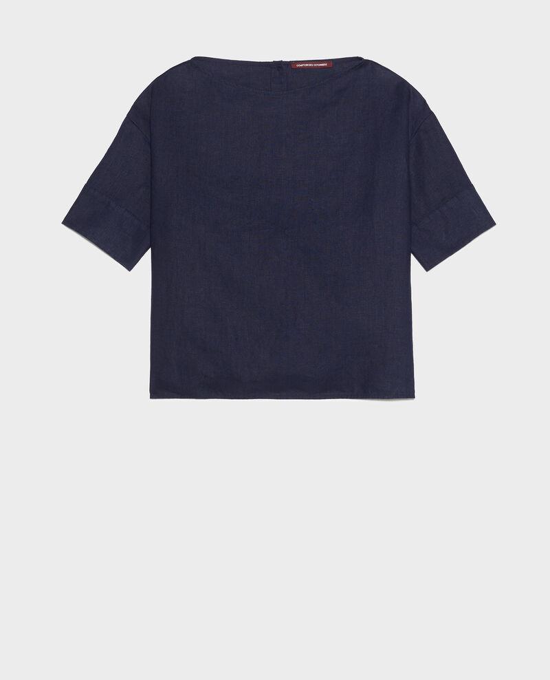 Loose linen top Maritime blue Lordat