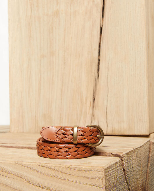 Braided leather belt CAMEL