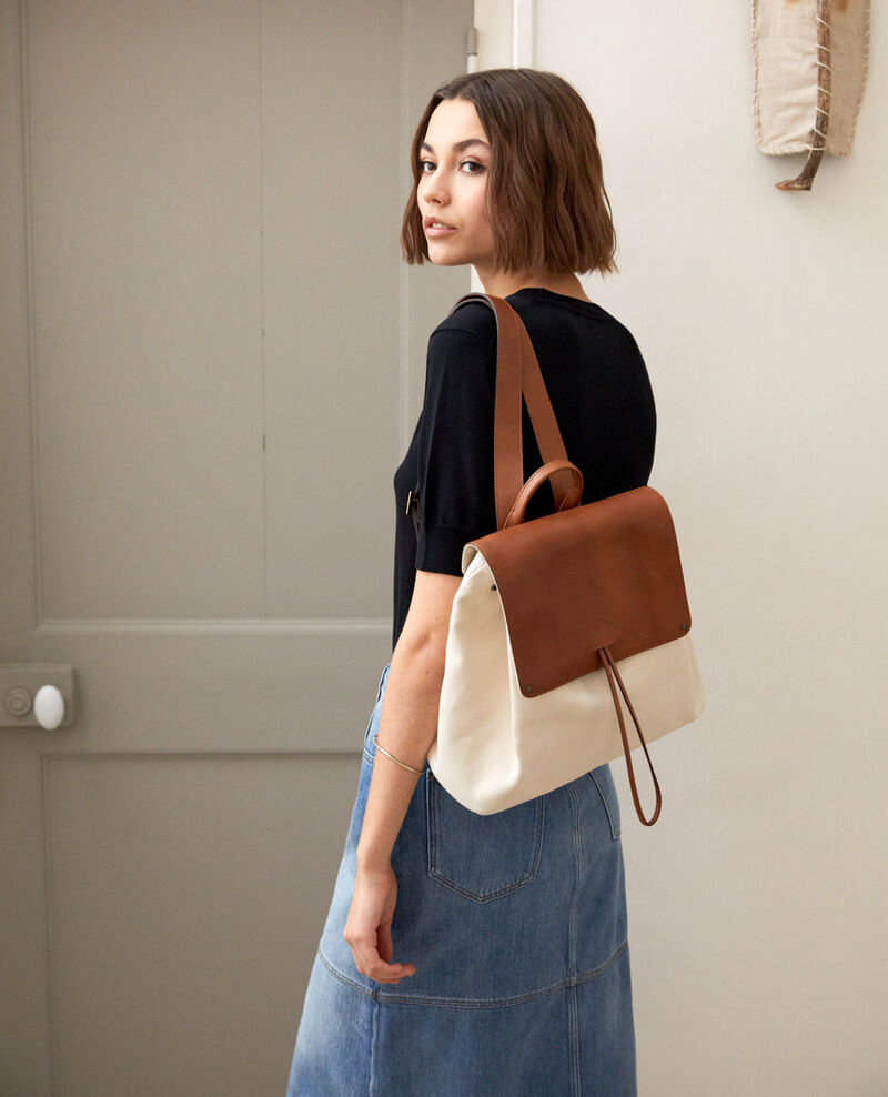 Canvas and leather backpack Ecru Ikado