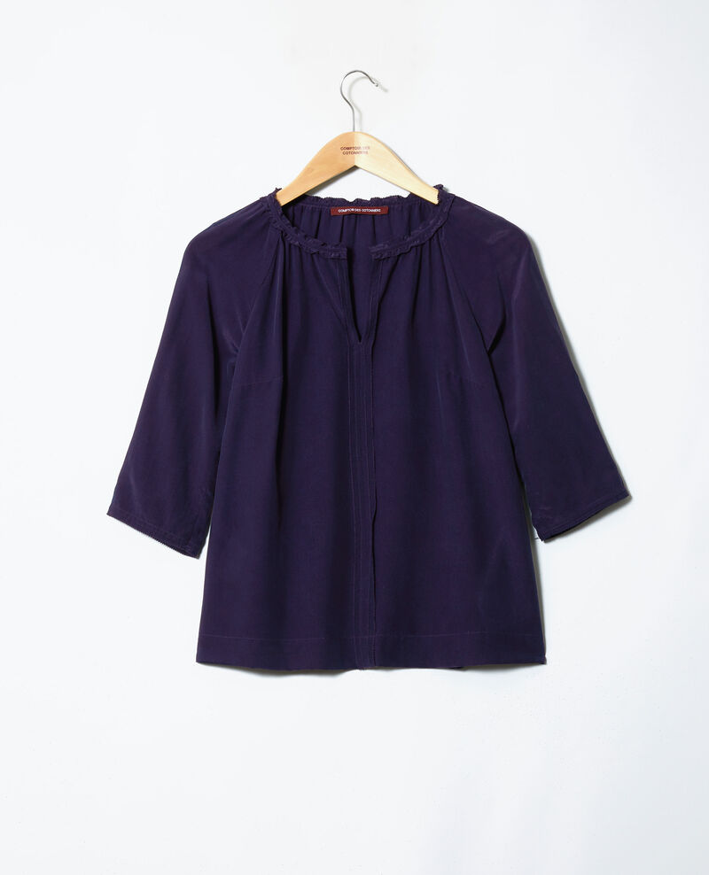 Blouse with silk Evening blue Jalandre