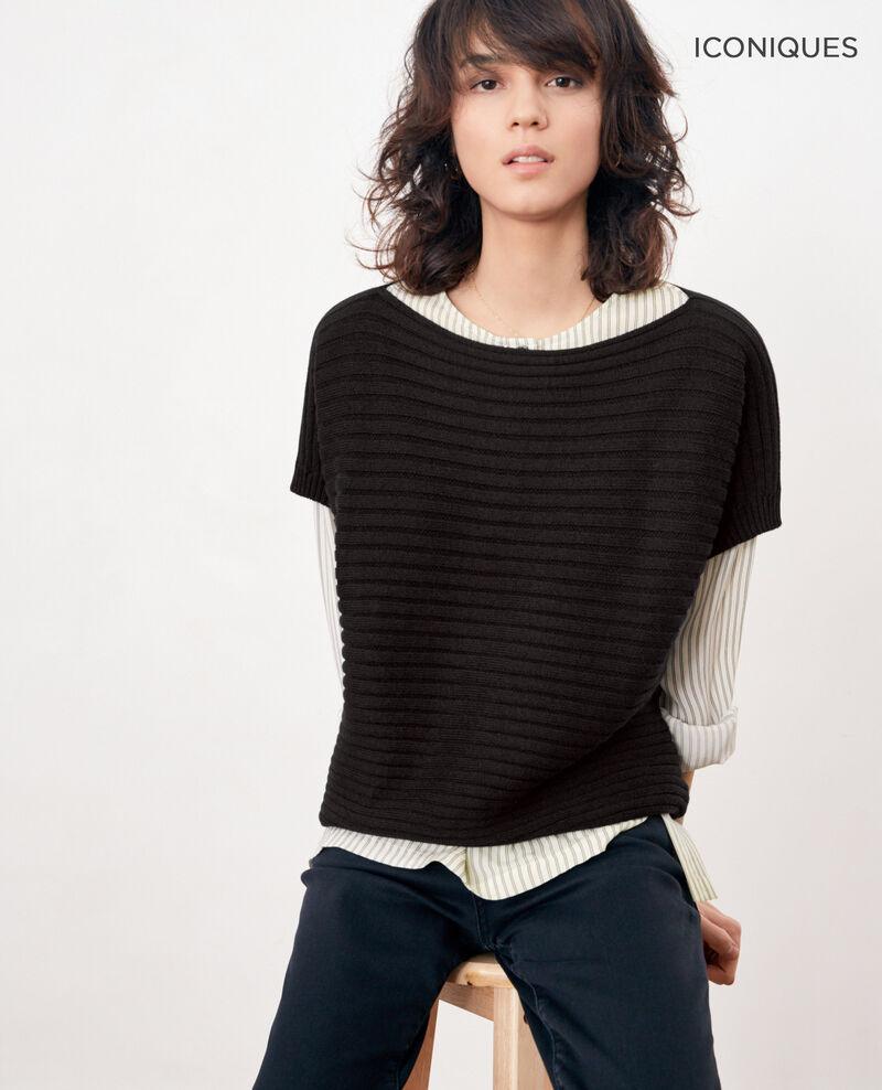 Short-sleeved seamless ribbed knit jumper Noir Falsi