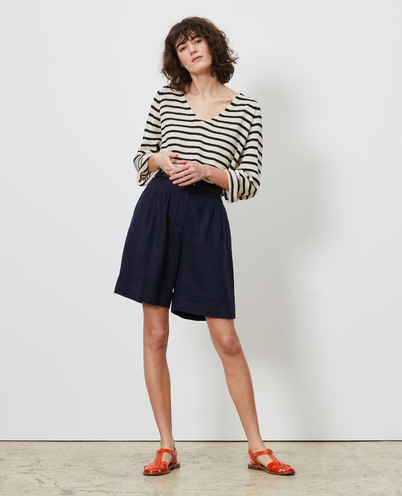 Striped linen jumper Stripes buttercream black Logron