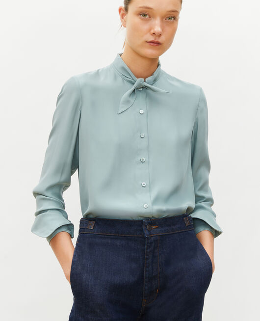 Long-sleeve tie neck silk blouse CHINOIS GREEN