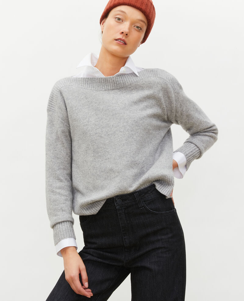 Cashmere boatneck jumper Light grey melange Matelot