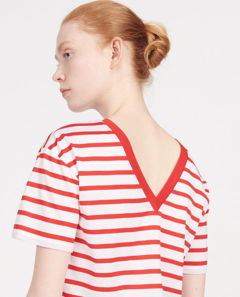 Cotton t-shirt Stripes optical white fiery red Lisou