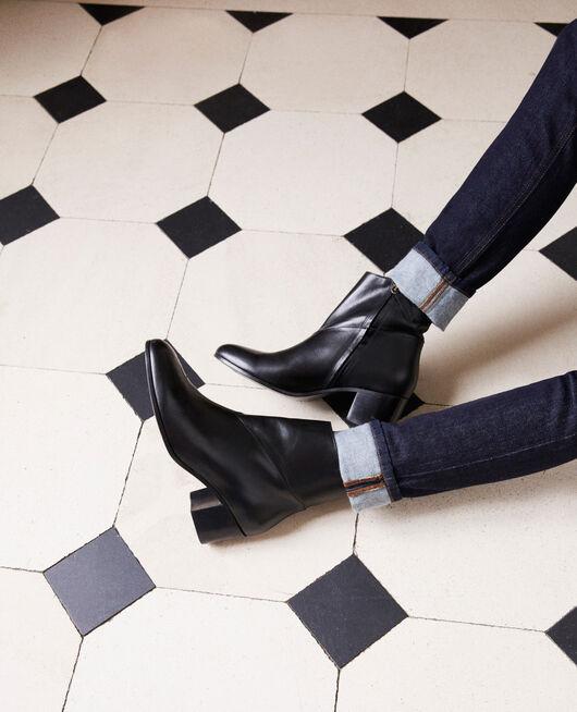 Black leather ankle boots NOIR