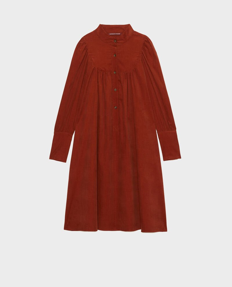 Corduroy yoke smock dress  Brandy brown Marcheville