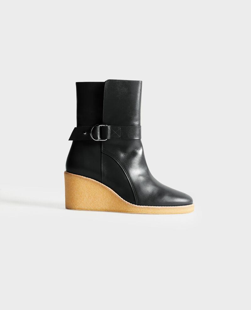 Platform leather ankle boots Black beauty Perignylarose