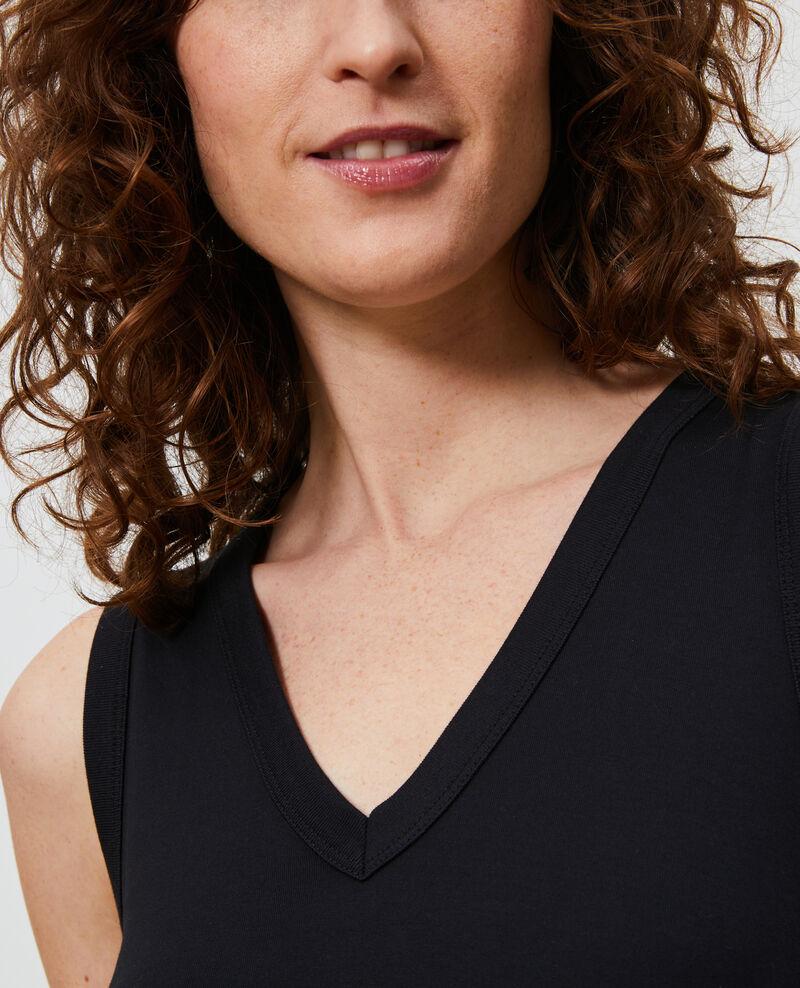 Long cotton V-neck dress Black beauty Larosa
