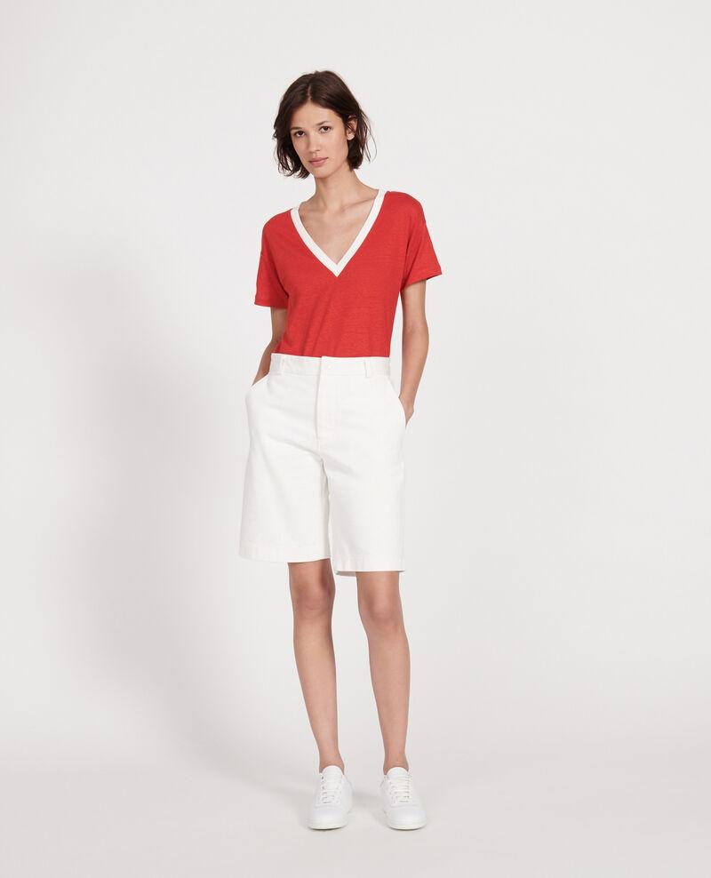 Linen jersey t-shirt Stripes fiery red gardenia Locmelar